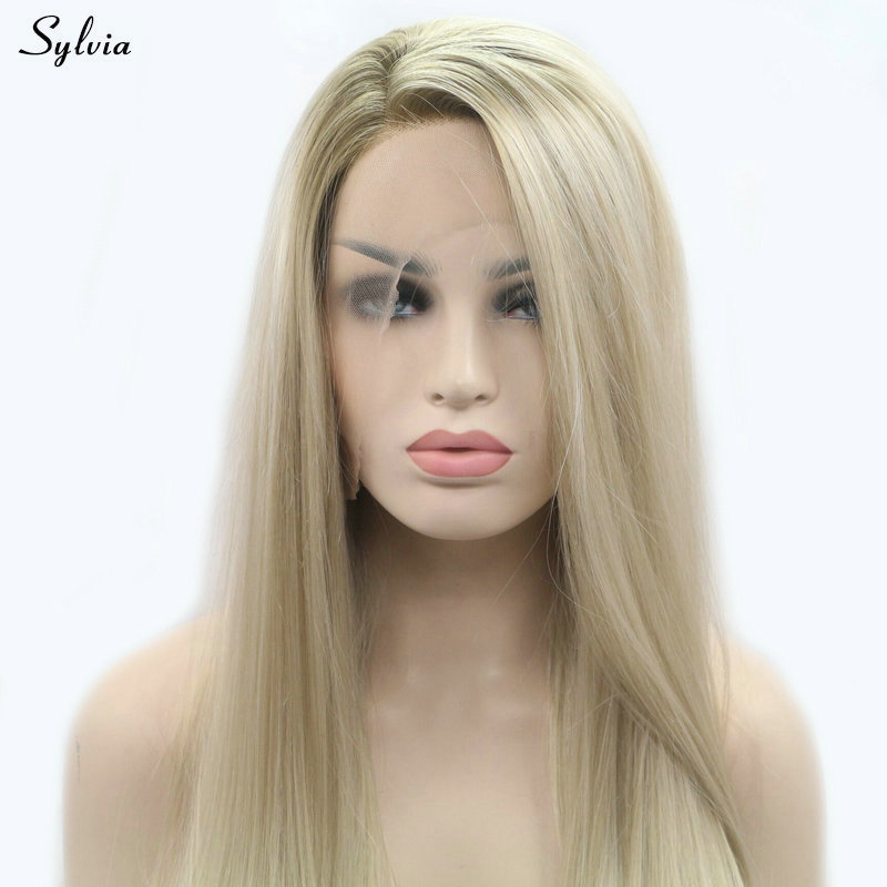 Sylvia blonde wigs new silky straight long replacement women hair heat resistant glueless synthetic lace front