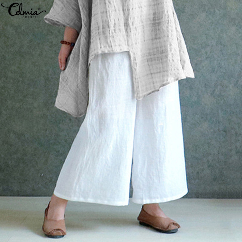 Celmia Wide Leg Pants Women Vintage Elastic Waist White Pants Ladies Casual Loose Solid Long Trouser Plus Size Pantalon 5XL