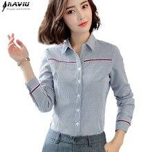 Nowe modne w paski projekt wysokiej jakości bawełna koszula formalne elegancka typu Slim z długim rękawem bluzka damska bluzka w rozmiarze Plus Size