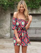 Tropical Summer Style Plaid Flower Print Sexy Summer Dress 2015 Women Dress Slash Neck Dresses Women Clothing Vestidos Robe