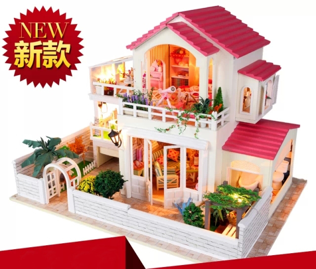 Tiny Times Pastoral Style Large Scale DIY Doll House 3D Miniature  Light+Music Box+