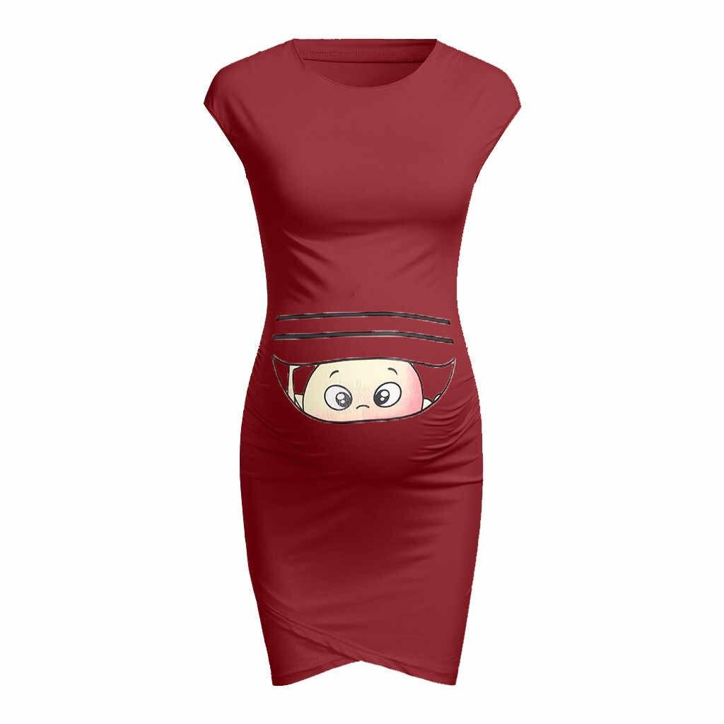 Платья с модным принтом для беременных платье для беременных реквизит для беременных облегающее повседневное мини-платье без рукавов для беременных