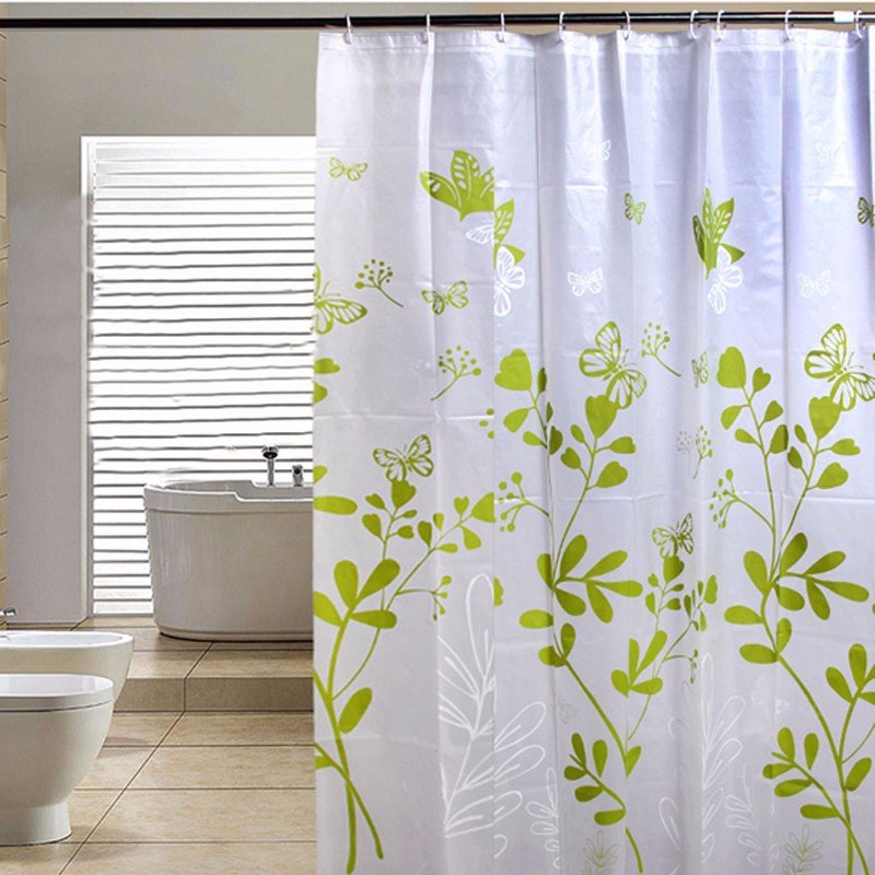 shower curtain modern tahan air PEVA shower curtain hijau kupu-kupu shower curtain berjalan mati kamar mandi shower curtain
