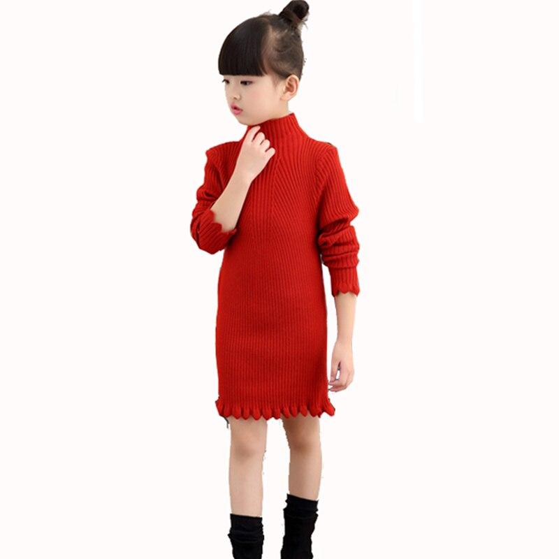 New 2018 Autumn Winter Kids Girls Children Turtleneck Knitted Sweater Dress For Girls Long Princess Dress Big Teenager Clothes uoipae kids dress for girls winter 2018