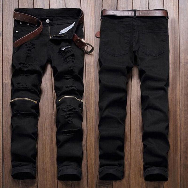 Hombres Con Estilo Ripped Jeans Zipper Hollow Out Biker Classic Flacos Delgados Pantalones de Mezclilla Rectas