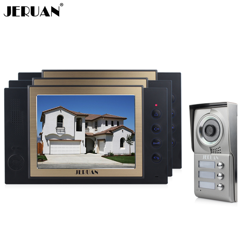 JERUAN 8`` TFT LCD video door phone intercom system doorbell speaker intercom doorphone recording photo taking 3 house 1 outdoor jeruan new doorbell intercom doorphone wireless video door phone with memory image station outdoor night vision function