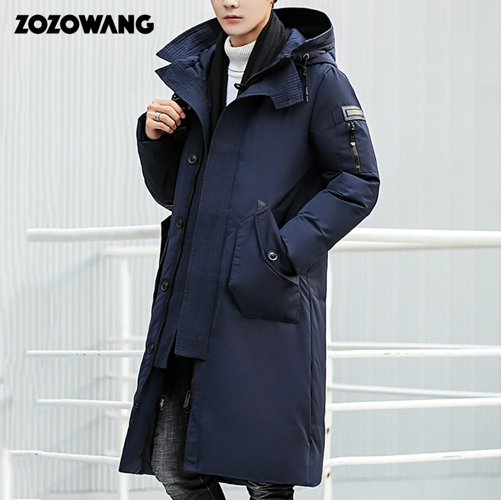 ZOZOWANG 2019 High Quality Winter Jacket Men Hooded Thicken Warm Parka   Coat   Casual Mens Overcoat Long White Duck   Down   jacket 3XL