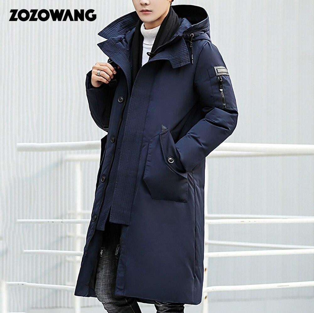 ZOZOWANG 2019 Высококачественная зимняя куртка мужская утолщенная теплая парка с капюшоном Пальто повседневные мужские пальто Длинная белая куртка на утином пуху 3XL