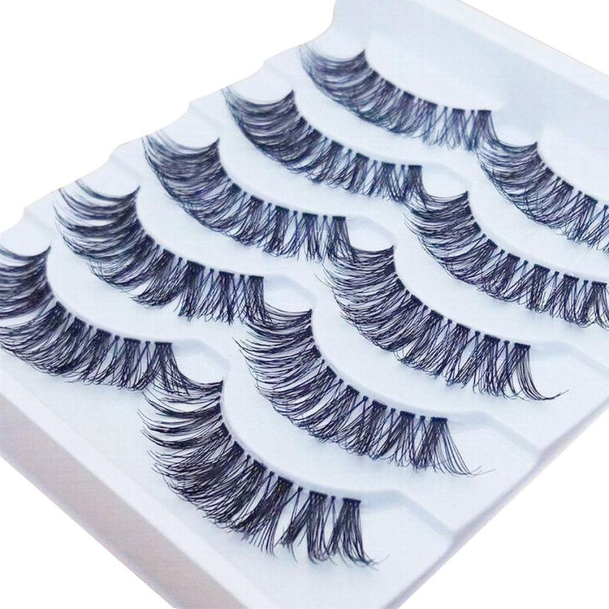 Gracious Makeup Handmade 5Pairs Natural Long False Eyelashes Extension Exquisite SP15 dropship