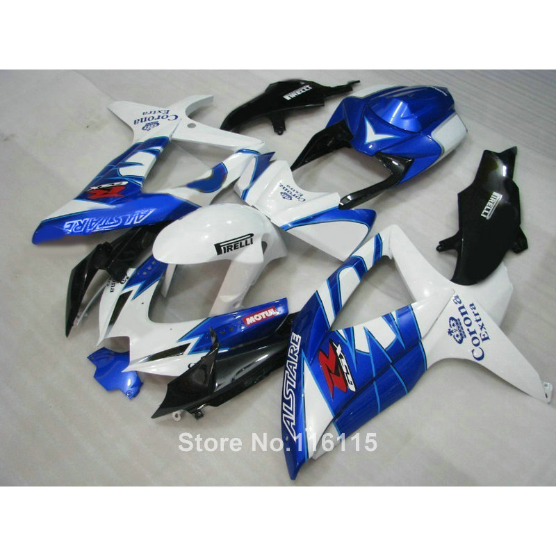Injection fairing kit for SUZUKI K8 GSXR 600 750 2008 2009 2010 GSXR600 GSXR750 08 09 10 white blue Corona fairings X576 lowest price fairing kit for suzuki gsxr 600 750 k4 2004 2005 blue black fairings set gsxr600 gsxr750 04 05 eg12