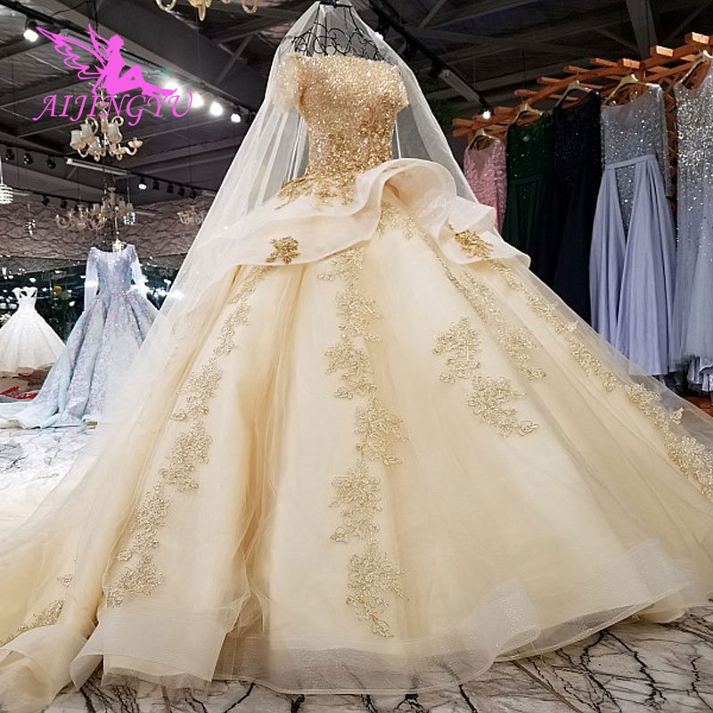 Image 4 - AIJINGYU Elegant Wedding Gown Gowns With Sheer Back Royal Sexy Online Usa Sheer 2018 Wedding Dress With SlitWedding Dresses   -