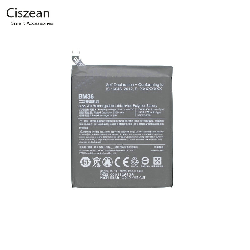 Ciszean Cell-Phone-Battery Batterie Xiao Mi BM36 3180mah Smart For 5s Mi5s Mobile High-Capacity