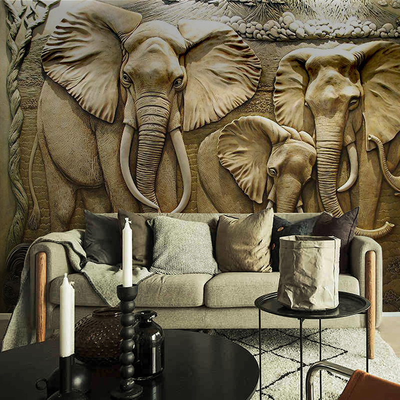 Custom 3D Wall Murals Wallpaper 3D Stereo Embossed Elephant Background Wall Mural Living Room Sofa TV Backdrop Photo Wallpaper