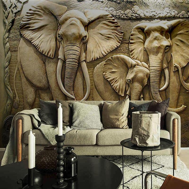 Custom 3D Wall Murals Wallpaper 3D Stereo Embossed Elephant Background Wall Mural Living Room Sofa TV Backdrop Photo Wallpaper