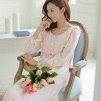 Free Shipping 2016 New Spring Princess Women S Long Pink Nightgown Royal Princess Sleepwear Vintage Pyjamas
