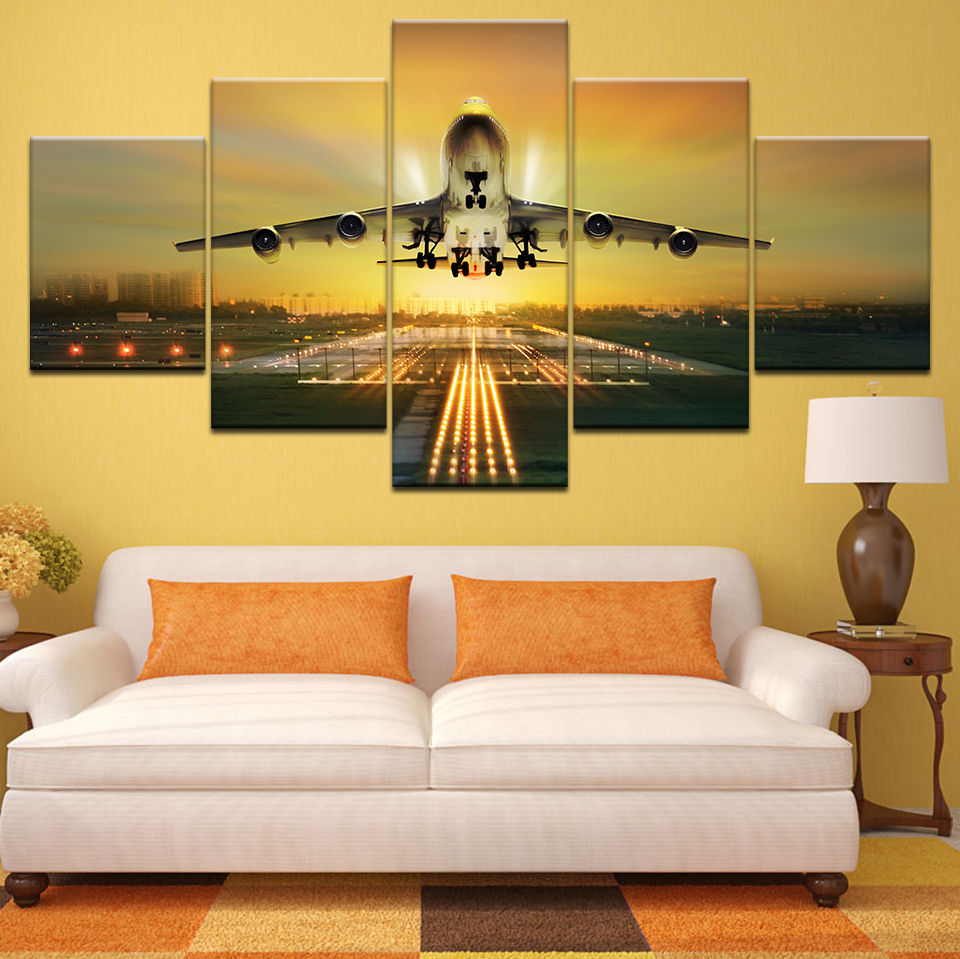 Embellish 5 Pieces Sunset Lights Airplane Lawn HD Canvas Painting Wall Art Aircraft Posters Home Decor Pictures For Living Room image