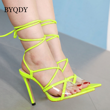 BYQDY Fashion Fluorescent Sandals Ankle Strap Cross-Strap Woman PVC 12.5CM High Heels Lace Up Russian Summer Shoes