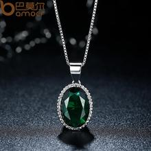 BAMOER Hotsale High Quality4 Colorful Stones Women Silver Color Necklace Adjustable Chains For Party Gift YIN052-GN