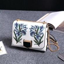 Luxury Handbags Women Bags Designer PU Women Leather Handbags Embroidery Casual Chains Bolsa Feminina Luis Vuiton Solid Bags