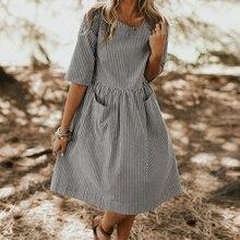 Women Summer Elegant O Neck Half Sleeve Pockets Loose Party Vestido Casual Baggy Work Striped Dress Sundress Oversized