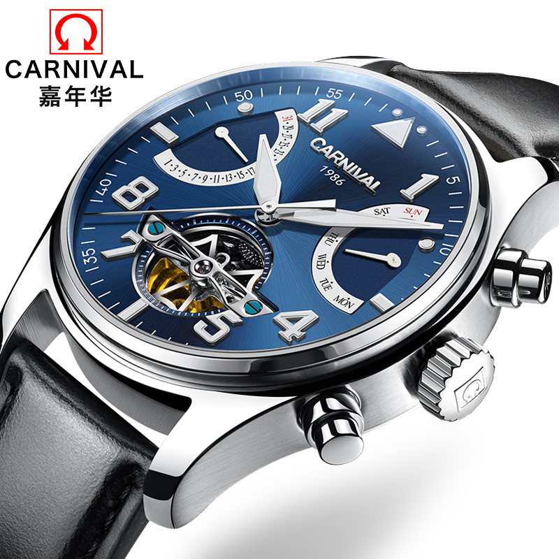 Switzerland Carnival Brand Luxury Mens Watches Multi-function Watch Men Sapphire reloj hombre Luminous relogio Clock C8783-15 wrist switzerland automatic mechanical men watch waterproof mens watches top brand luxury sapphire military reloj hombre b6036