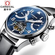 Швейцария Карнавал бренда Роскошные мужские часы Многофункциональные часы Мужчины Сапфир reloj hombre Люминесцентные часы с репликами C8783-15