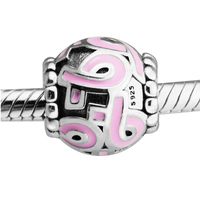 Fits Pandora Bracelets Pink Enamel Silver Charm 925 Sterling Silver Beads For Jewelry Making 2017 Spring