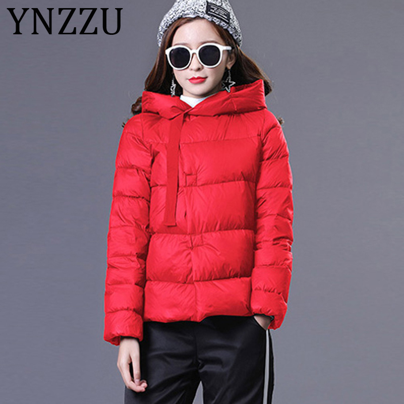 YNZZU New Autumn Winter   Down   Jackets Women Ribbon Solid Casual Duck   Down     Coats   Female Ultra Light Warm Hooded Overcoat AO648