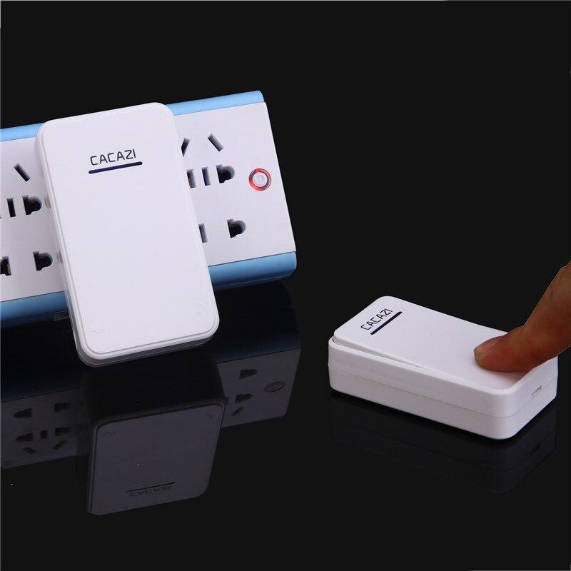 CACAZI 2 Waterproof Buttons+2 Receivers AC 100 220V Wireless Doorbell EU US  UK Plug Door Ring 48 Ringtones 6 Volume Door Chime In Doorbells From Home  ...