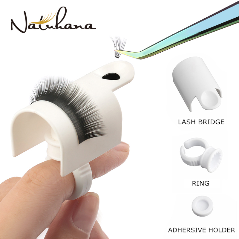NATUHANA 1set U Band Lash Device Strips Holder Ring With Glue Plate Adhesive Eyelash Pallet Holder For Eyelash Extension