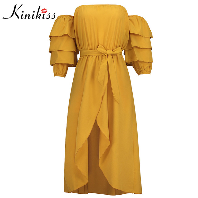 3f7f36ef15ff7 US $19.25 50% OFF|Kinikiss Women Dress Solid Yellow Puff Sleeve Slash Neck  Backless Lace Up Asymmetrical 2018 Summer Casual Fashion Women Dress-in ...