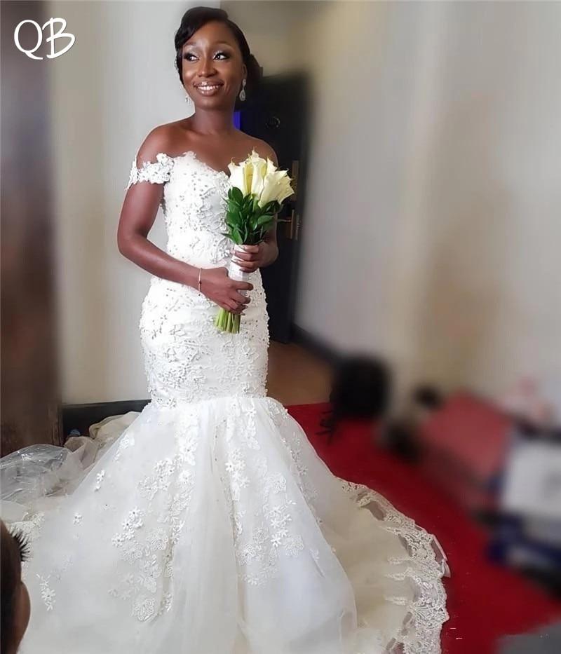 Custom Made Wedding Dresses 2019 Mermaid Sweetheart Beading Lace Sexy Elegant Bridal Wedding Gowns Plus Size ZF25
