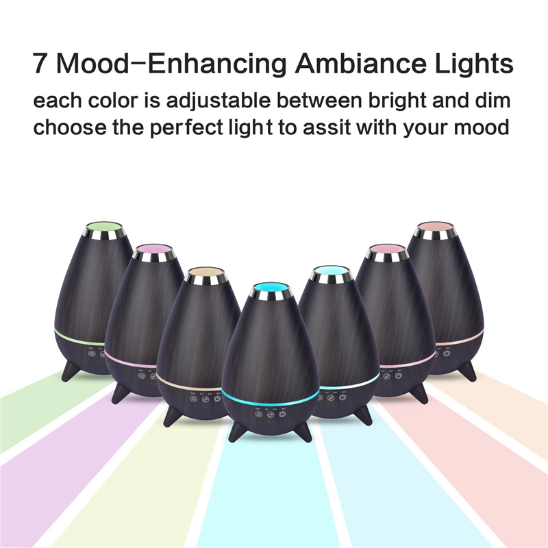 TSUNDERE L 400ml Aromatherapy Essential Oil Diffuser 7 Changing Colors and Auto Shut-off for Home Office Baby Bedroom Spa Yoga