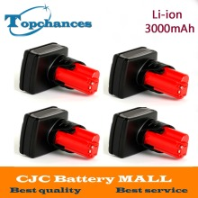 4PCS High Quality 12V 3000mA Li-ion Rechargeable Power Tool battery for Milwaukee M12 48-11-2411 48-11-2401 48-11-2402 C12 B C12