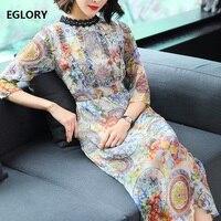 100 Silk Women Spring Summer Dress 2018 European Style Ladies Vintage Print Lace Embroidery 3 4