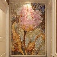 Пользовательские ручной огранки цветок Стекло мозаичные панно a4j124