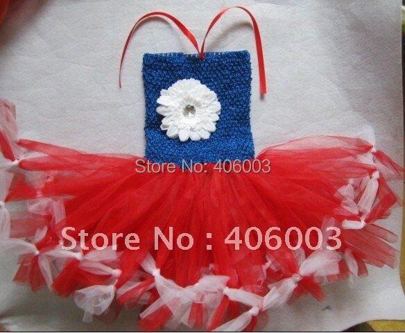 4th July платье-пачка для девочек красный белый синий с белыми кончиками