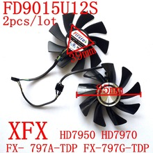 Free Shipping 2pcs/lot  FD9015U12S DC12V 0.55A  for  original  XFX  HD7950 HD7970 graphics card  fan