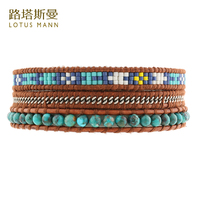 Lotus Mann Color matching m bead chain steel three times leather cord bracelet 3 color