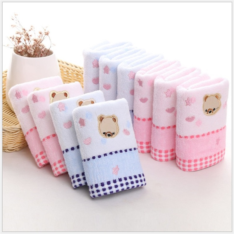 25*50cm High Quanlity Cotton Baby Towel Cartoon Bear Baby Washcloth Handkerchief Kids Feeding Wipe Cloth Towel