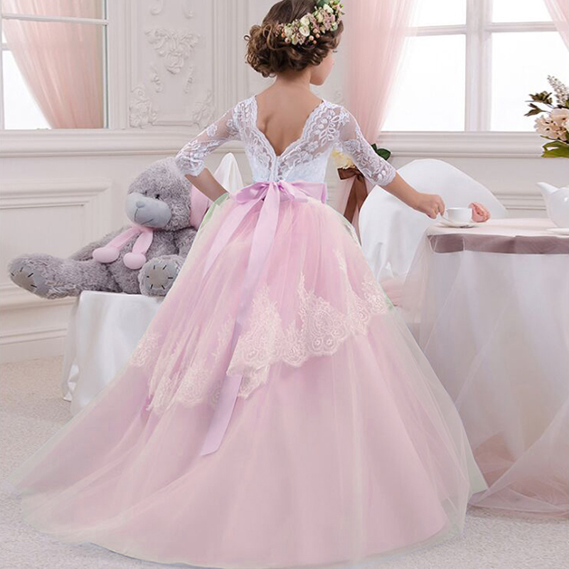 Backless Elegant Girls Dress For Weddings Girl Evening Long Lace Dresses Communion 2018 Pink Princess Pageant Party Gowns 6 14 Y