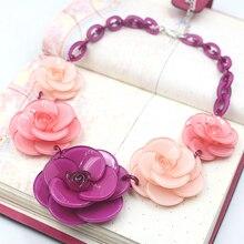Collar de acrílico collar de flores 2016 ZHONGLV Joyería Lujo de La Marca ZA Diseño de color Cadena de acrílico Collares Declaración para las mujeres