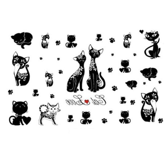 yeeech temporaire tatouages autocollant pour femmes faux noir kitty