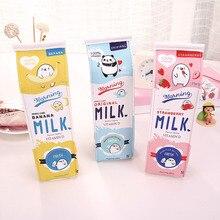 0611 молока мешок прекрасные студенты канцелярские ручки творческий емкости Пеналы мешок