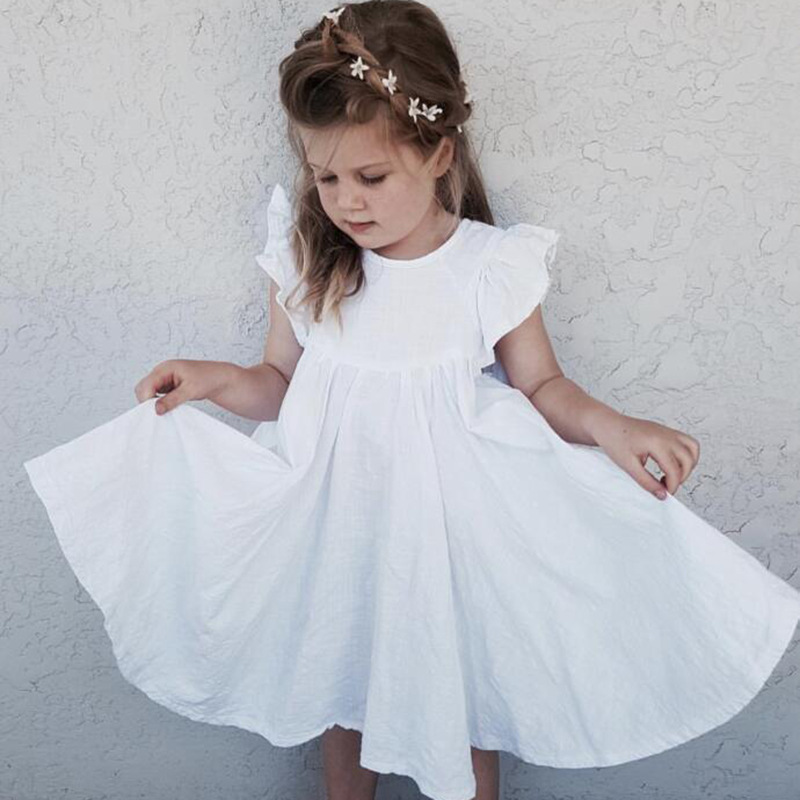 2019 Girls Dress Casual  kid's Clothing Baby A-line One-piece Party Dress Cotton O-neck Knee-length Princess Ruffles  Solid(China)