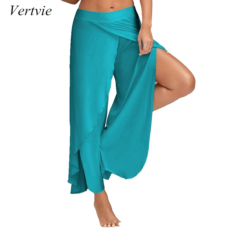 vertvie Womens Yoga Pants Pilates Athleisure Chiffon High Slit Loose Crop Pant Plus Size Sports Legging Dancing Pant 3XL 4XL 5XL