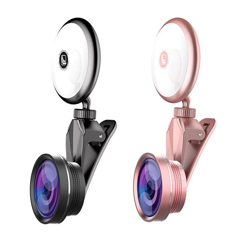 Mobile Phone Len Ultra-HD 4K Wide Angle Len Super Macro Lens Fisheye lens Camera Kit 360 Degree Rotation Phone Fill Light
