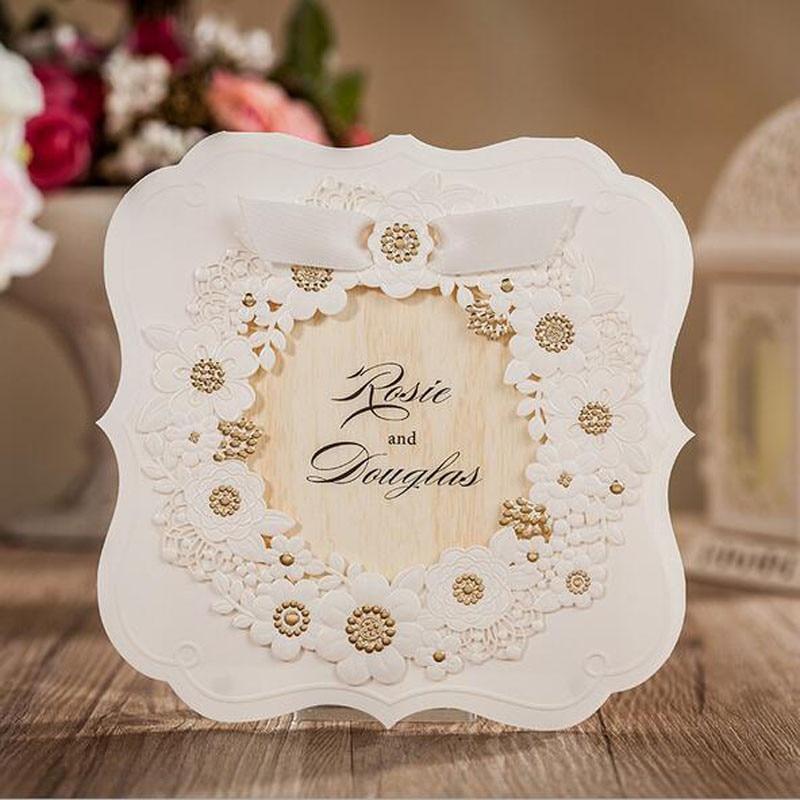 H D 20pcs White Hollow Laser Cut Wedding Invitations Card Rsvp