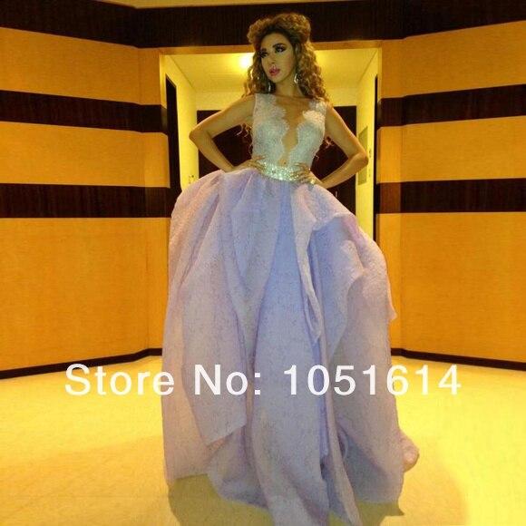 Design de moda Venda Quente Myriam Fares vestido de Baile Light Purple Lace Tulle Frisado Apliques de Mangas Árabe Celebrity Dress