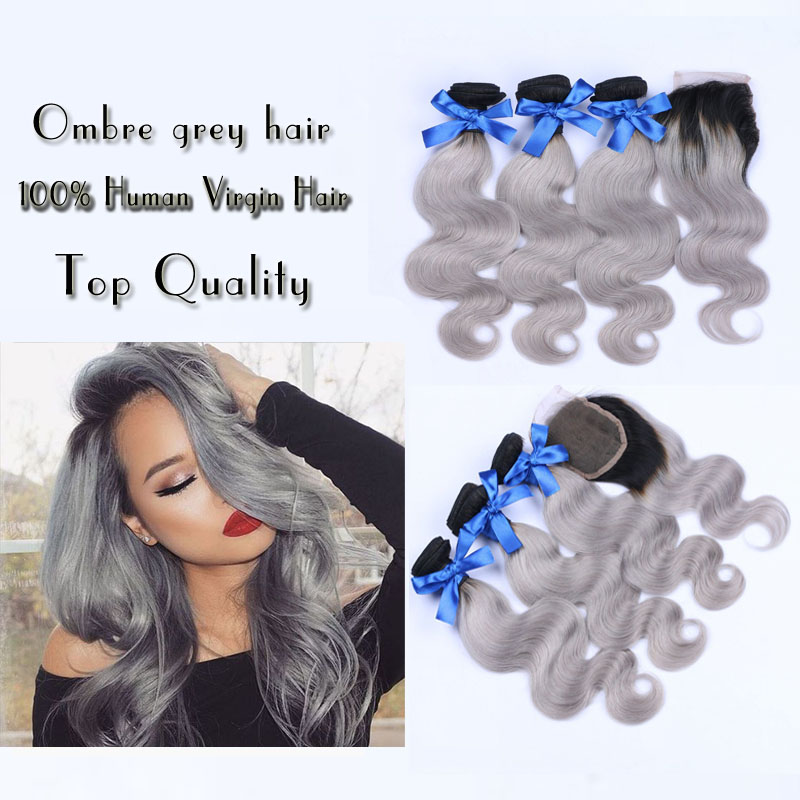 Brazilian Virgin Hair With Closure Ombre Human Grey Hair Body Wave Extension Ombre Grey Virgin Hair Weave  With lace Closure